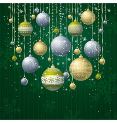 green card with christmas balls vector image