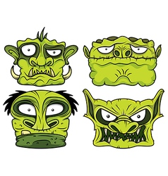 Halloween green scary zombie head vector
