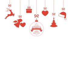 Hanging Christmas ornaments with ribbons vector image