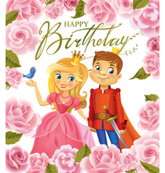 happy birthday princess and prince greeting card vector image