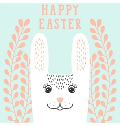 Happy bunny face rabbit head in floral wreath vector