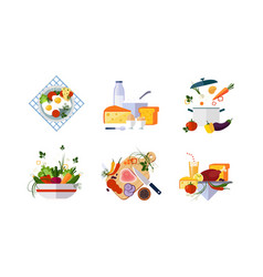 healthy organic food set diet menu dairy vector image
