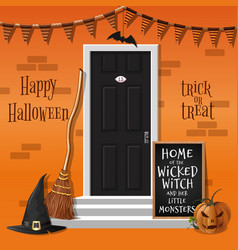 House is decorated for the halloween holiday vector