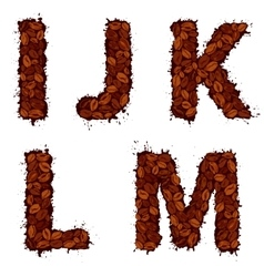 IJKLM english alphabet letters made of coffee vector image