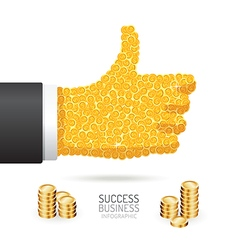 Infographic business coins good sign hand shape vector image