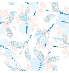 japanese seamless pattern of birds and water vector image