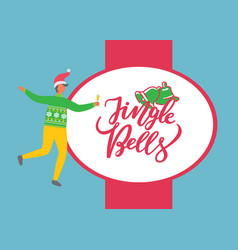 Jingle bells poster man celebrate christmas party vector