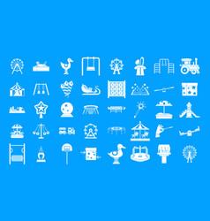 Kid amusement icon blue set vector