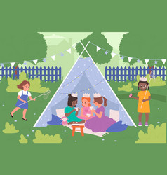 Kids play together in tepee tent house camp vector