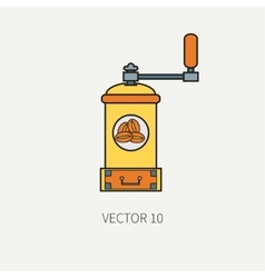 Line color kitchenware icons - coffee mill vector