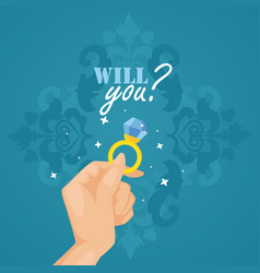 marriage proposal card hand with engagement ring vector image