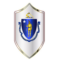 Massachusetts state flag on a crusader style vector