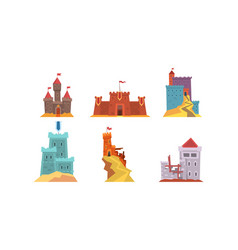 medieval fairytale castles collection ancient vector image