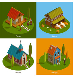 Medieval settlements isometric concept vector