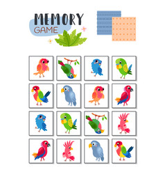 Memory game with cartoon tropical parrots vector