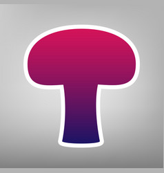 Mushroom simple sign purple gradient icon vector
