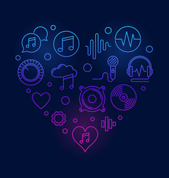 music icons in heart shape colored vector image