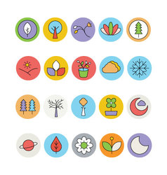 Nature Colored Icons 2 vector image