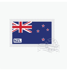 new zealand flag old postage stamp vector image