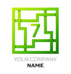 Number seven logo symbol in colorful square maze vector