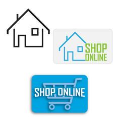 Online shopping cart shopfrom home symbol vector