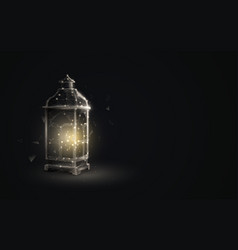 ornamental arabic lantern with burning candle vector image