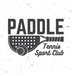 paddle tennis sport club badge emblem or sign vector image
