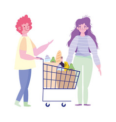 People hoarding purchase characters with shopping vector