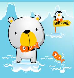 Polar bear with little penguin catch fish vector