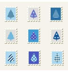 Postal stamps set fir-trees vector image