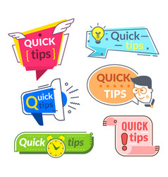 Quick tip labels tips and tricks suggestion vector