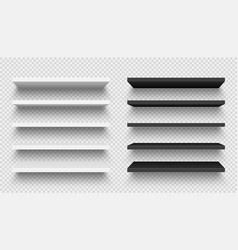 Realistic black and white wall shelf collection vector