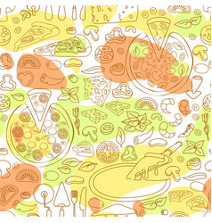 seamless pattern of hand drawn pizz vector image