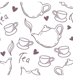 Seamless pattern with hand drawn tea cup and vector
