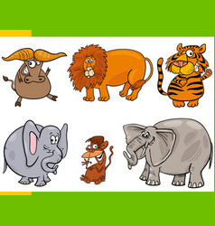 set cartoon animal characters vector image
