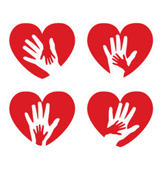 Set of icons with hands and hearts vector