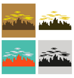 Set of night city dark urban scape night vector