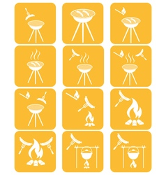 Set of sausage camp coocking icons vector