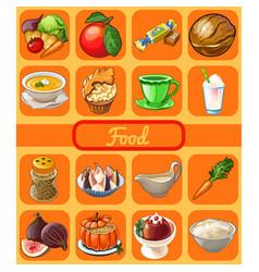 set of useful organic natural food attribute of vector image