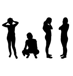 Silhouettes of women in despair vector