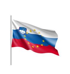 Slovenia national flag with a star circle of eu vector