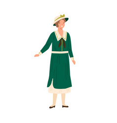 Smiling elegant woman standing in dress and hat vector