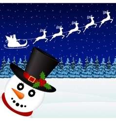 snowman in forest holiday vector image