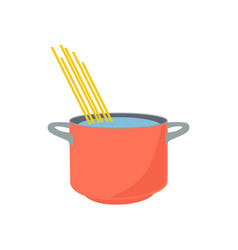 spaghetti boiling in hot water cooking pot vector image