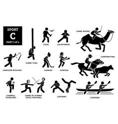 Sport games alphabet c icons pictograph calva vector