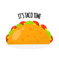 taco mexican traditional food in flat style vector image