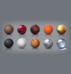 Texture spheres 3d realistic balls glass metal vector
