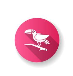 Toucan pink flat design long shadow glyph icon vector