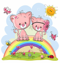 Two pink kittens are sitting on the rainbow vector