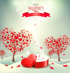 Valentine background with heart shaped trees vector image